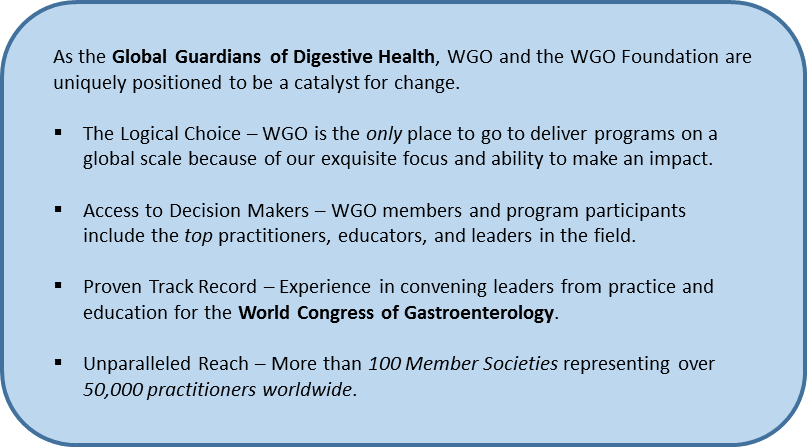 As The Global Guardians of Digestive Health, WGO and the WGO Foundation are uniquely positioned to be a catalyst for change.  The Logical Choice – WGO is the only place to go to deliver programs on a global scale because of our exquisite focus and ability to make an impact.  Access to Decision Makers – WGO members and program participants include the top practitioners, educators, and leaders in the field.  Proven Track Record – Experience in convening leaders from practice and education for the World Congress of Gastroenterology.  Unparalleled Reach – More than 100 Member Societies representing over 50,000 practitioners worldwide.