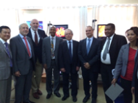 Louis Liu (University of Toronto), James Toouli (then WGO President), Desmond Leddin (WGO Training Center Director), Abate Shewaye (University of Ethiopia), Ara Sakissian (Storz), Nagi Checri (Storz), Abdelmounem Abdo (Training Center director Khartoum) and Tiruwork Fikadu (Inaugurate GI graduate, current Ethiopian Association of Gastroenterology Vice President).