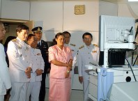 Princess Sirindhorn watching a live endoscopy at the WGO Bangkok Training Center.