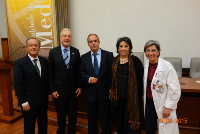 WGO President, Prof. Toouli, and Training Center Director, Guilherme Macedo, with the President of the Portuguese Society of Gastroenterology, the Dean of the Faculty of Medicine, and Clinical Director of Hospital S. João at the Porto Training Center Opening Ceremony.