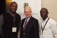 left to right: Allan Rajula, Peter Holt, and Yaw Awuku at the WGO SAGES-ADD Training Center.