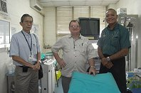 left to right - Assoc. Prof. Thein Htut, Prof. Finlay Macrae, Dr. Joji Malani,Senior Lecturer and Physician, at the WGO Suva Training Center