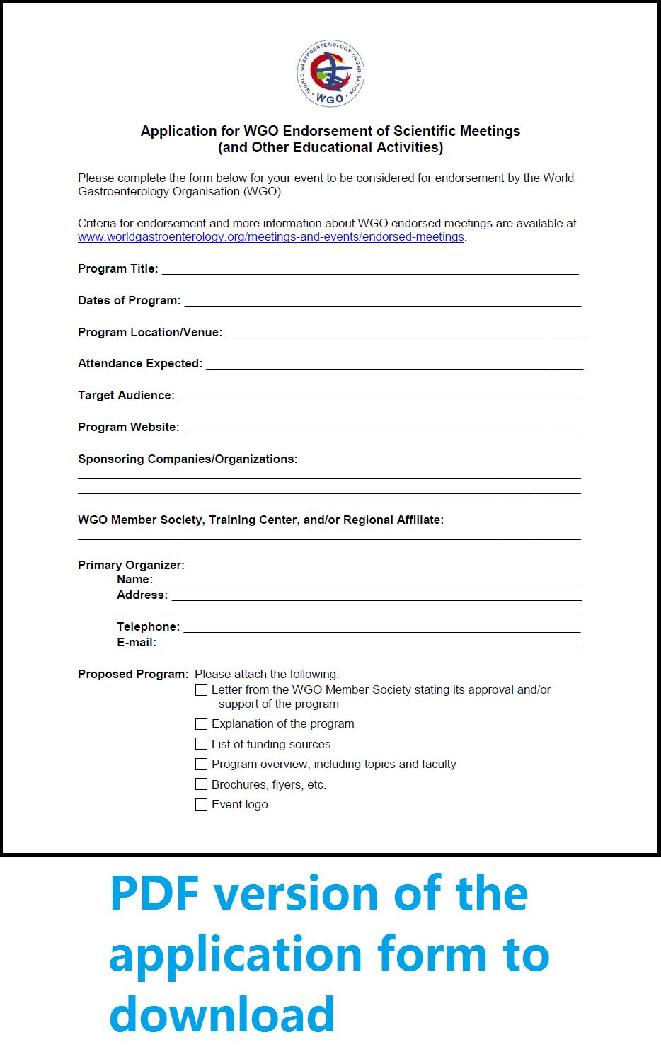 WGO Endorsed Meetings – Meeting Program Sample