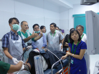 Live case instruction with Dr. Peter Katelaris at the WGO Myanmar Training Center.