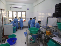 Training on endoscopy disinfection at the WGO Myanmar Training Center.